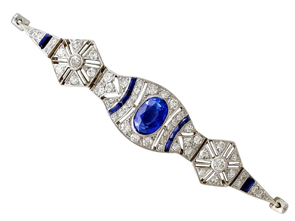 259ct sapphire and 172ct diamond 18ct white gold bracelet art deco antique french circa 1920
