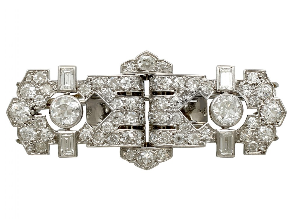 258ct diamond and platinum 18ct white gold double clip brooch art deco antique french circa 1920