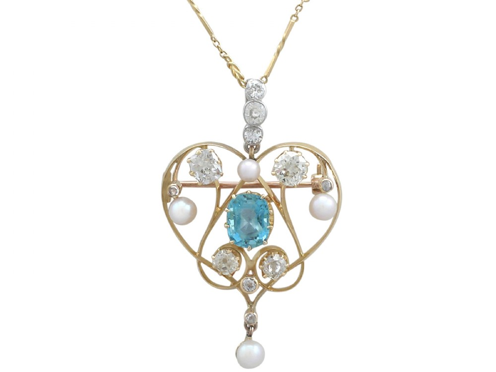 322 ct diamond and 210 ct aquamarine pearl and 18 ct yellow gold pendant brooch antique victorian
