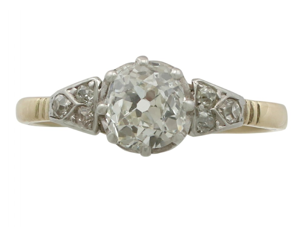 116 ct diamond and 18 ct yellow gold 18 ct white gold set solitaire ring antique circa 1910
