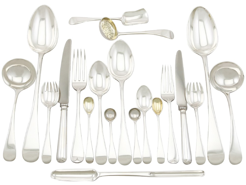 sterling silver canteen of cutlery for eight persons antique victorian 1896