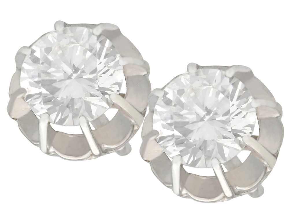 152ct diamond and 18ct white gold stud earrings antique circa 1935