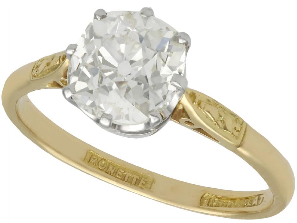 196 ct diamond and 18 ct yellow gold platinum set solitaire ring antique circa 1910