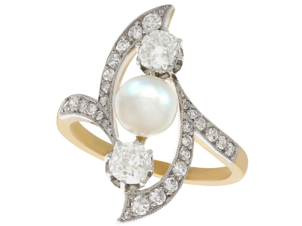 pearl and 114ct diamond 18ct yellow gold and platinum set dress ring art nouveau antique french circa 1910
