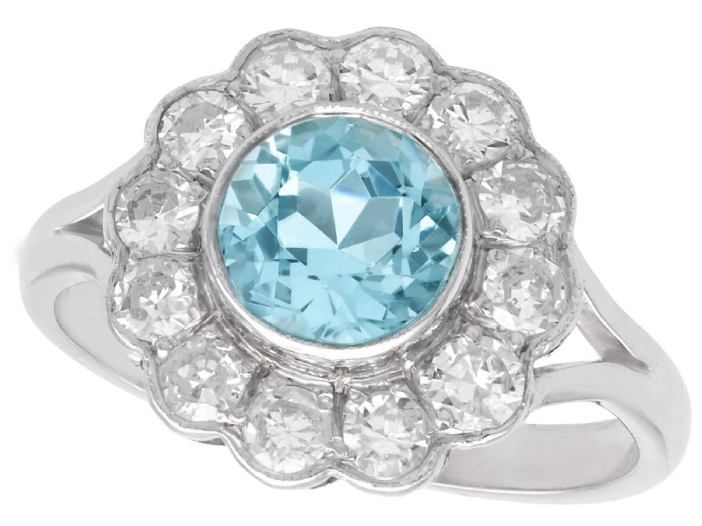 134 ct aquamarine and 096ct diamond 14 ct white gold cluster ring vintage circa 1950
