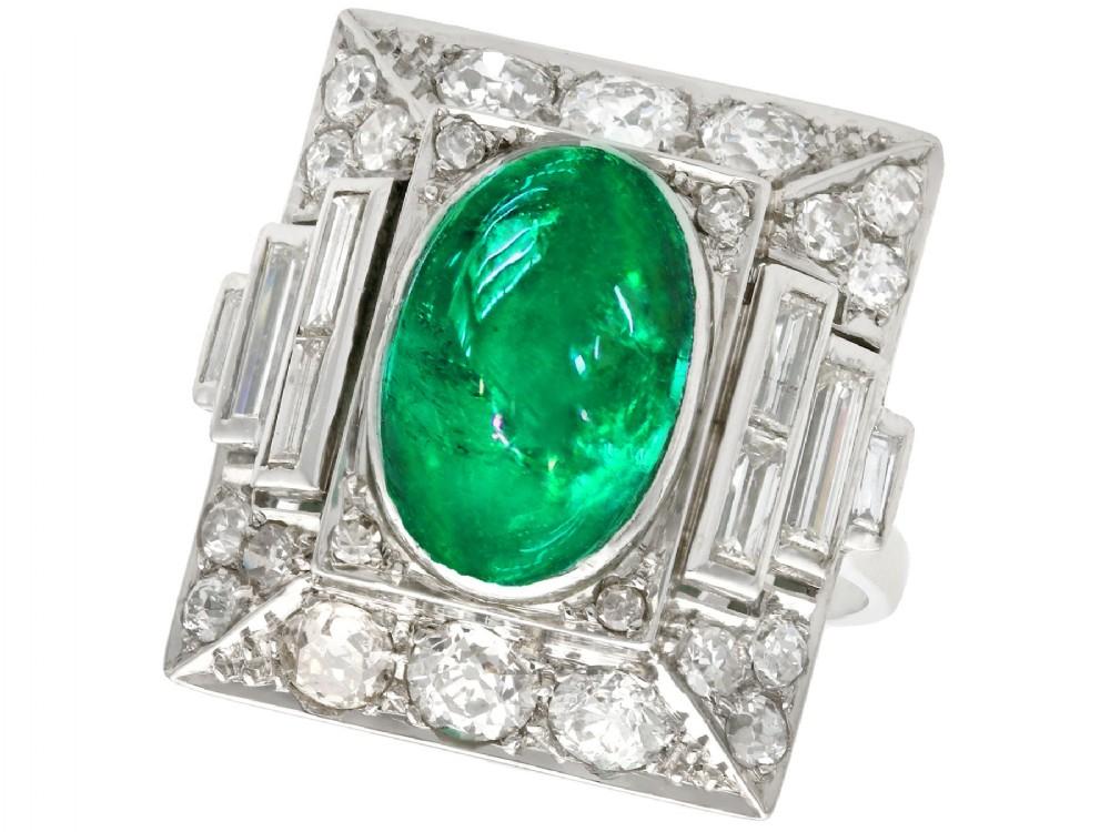340ct emerald and 272ct diamond platinum cocktail ring antique circa 1935