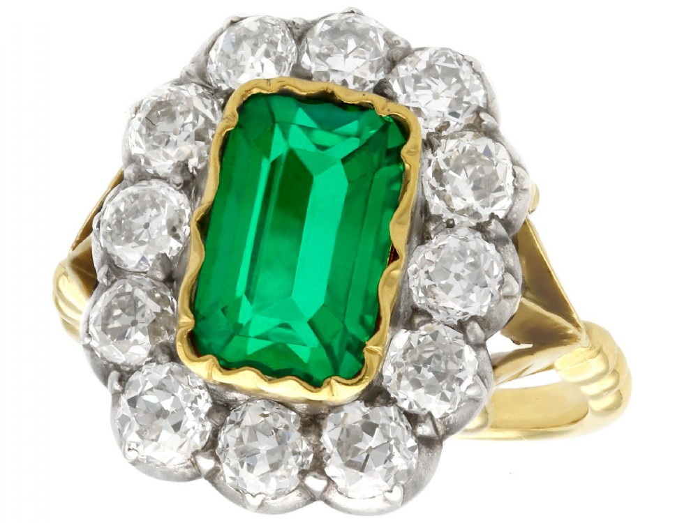 2 ct colombian emerald and 22 ct diamond 18 ct yellow gold dress ring antique circa 1890
