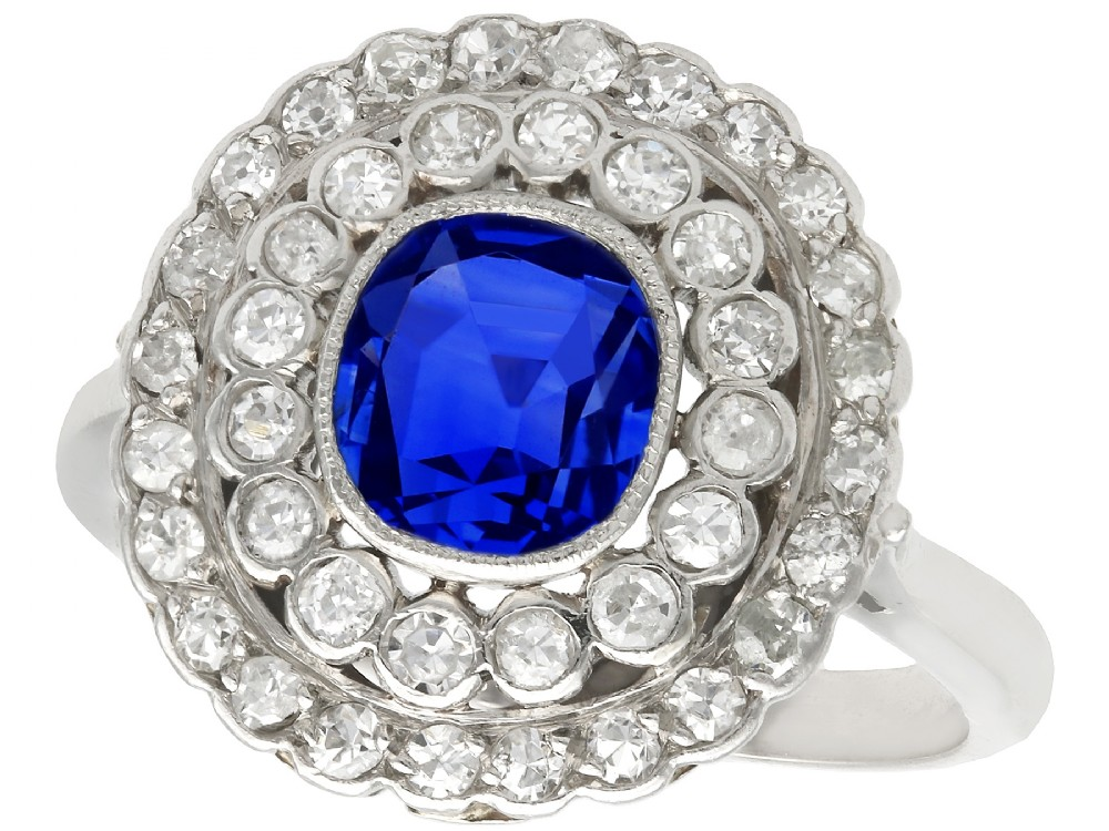 190ct sapphire and 110ct diamond 18ct white gold cluster ring antique french circa 1925