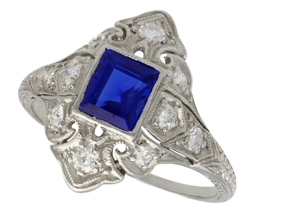antique 1930s 079ct sapphire and 022ct diamond platinum dress ring
