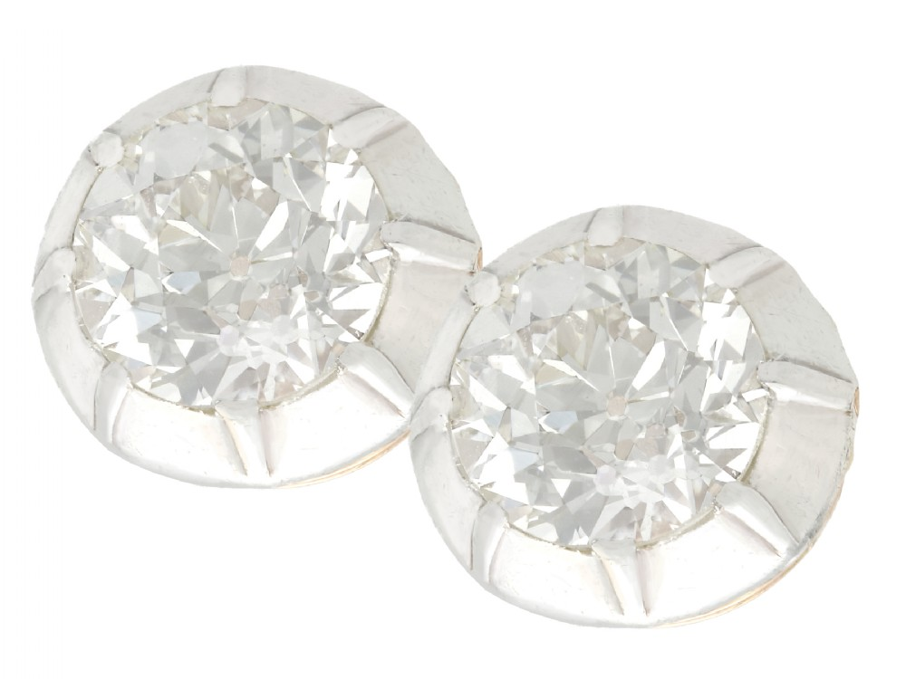 358ct diamond and 14ct yellow gold silver set stud earrings antique circa 1910