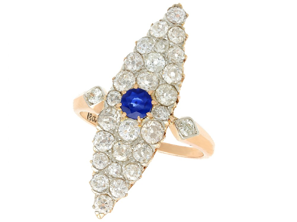 042 ct sapphire and 292 ct diamond 18 ct yellow gold marquise ring antique circa 1900
