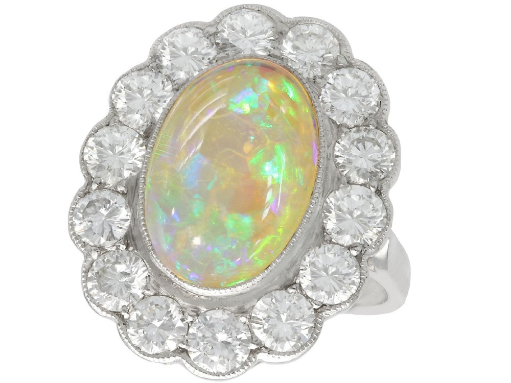 antique 1930s 219ct opal and 236ct diamond platinum cluster ring