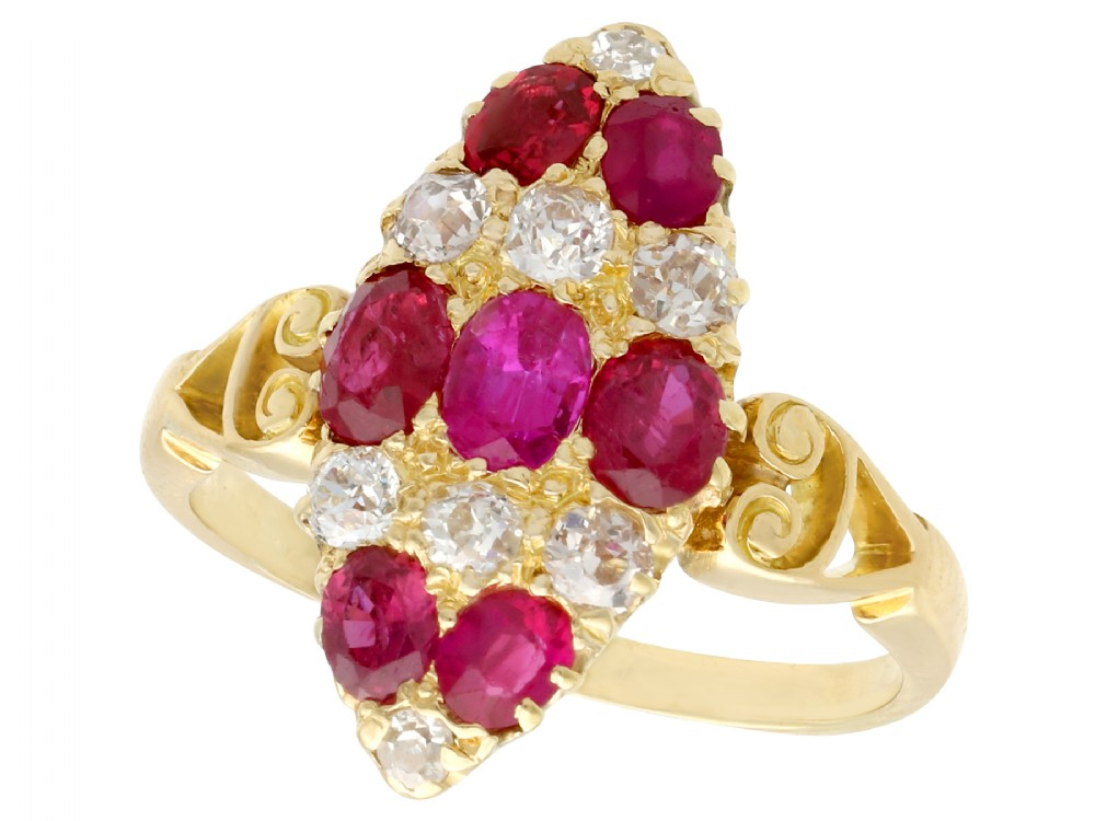 182 ct ruby and 057 ct diamond 18 ct yellow gold marquise ring antique circa 1900