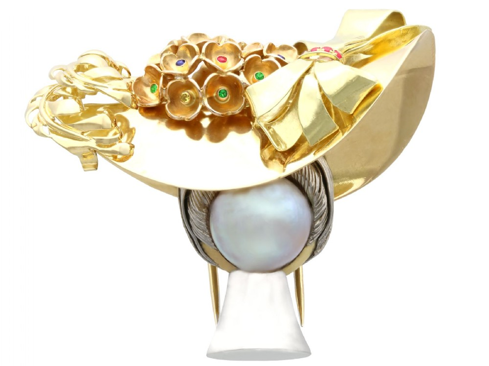 mabe pearl fancy yellow diamond ruby sapphire and emerald 18 ct yellow gold brooch vintage circa 1950