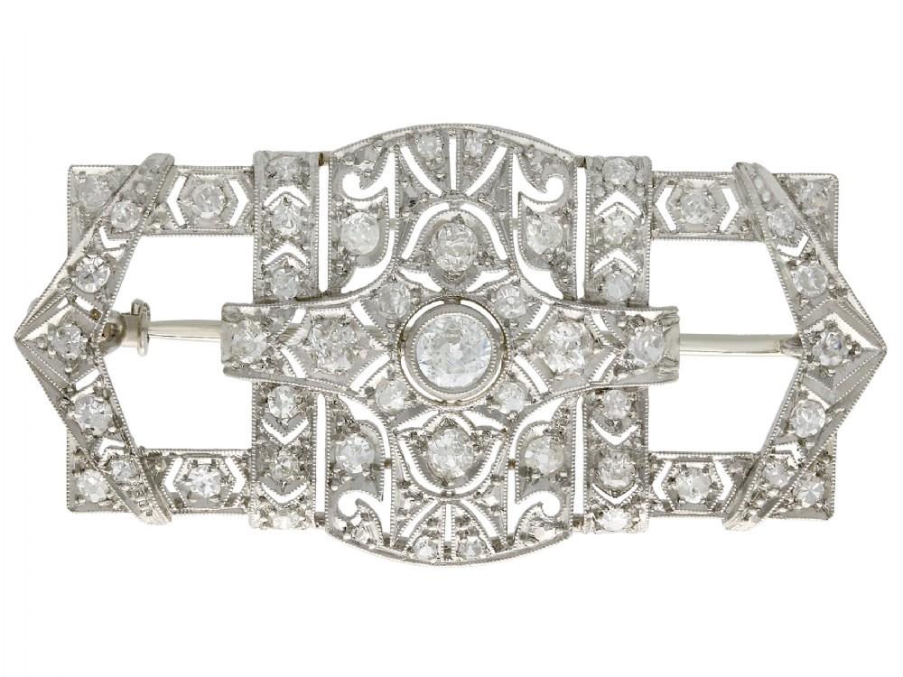 178ct diamond and platinum brooch art deco antique circa 1930
