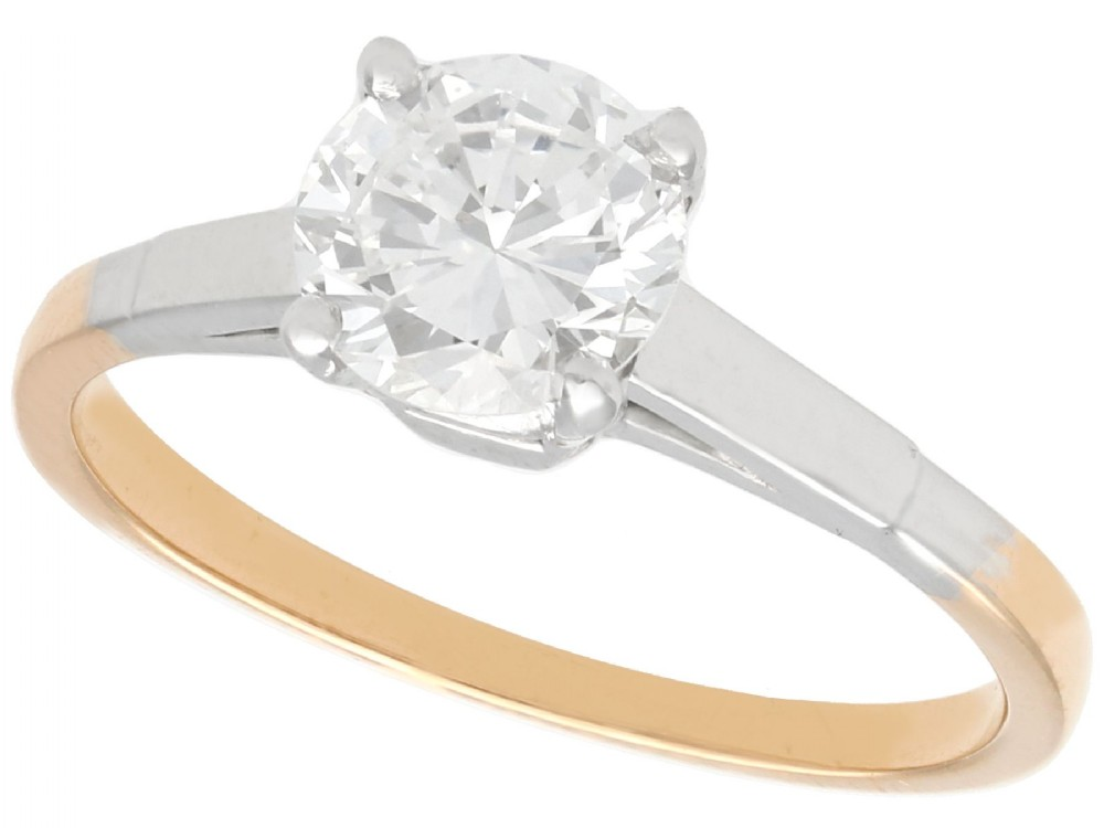 093 ct diamond and 18 ct yellow gold solitaire ring vintage circa 1940