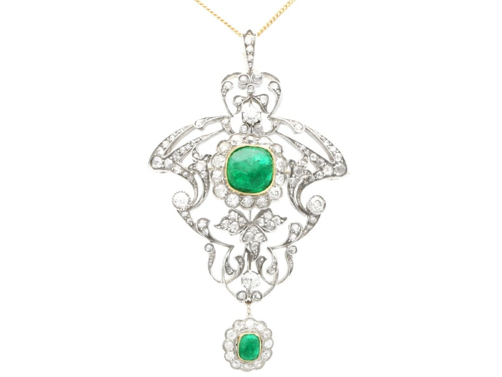 antique 353ct emerald and 589ct diamond 14ct yellow gold pendant brooch