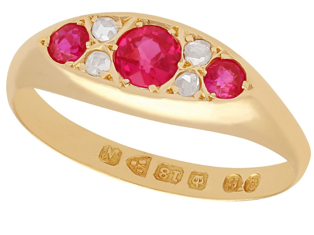 synthetic ruby and 012 ct diamond 18 ct yellow gold dress ring antique 1913