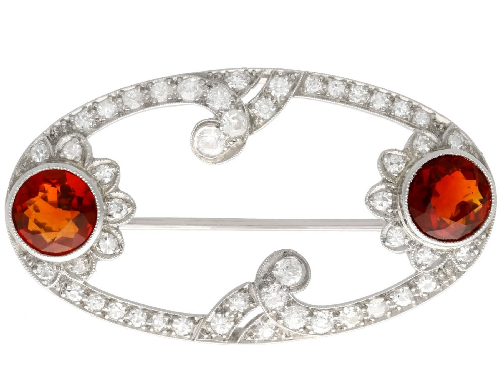 322ct hessonite garnet and 196ct diamond platinum brooch art deco antique circa 1935