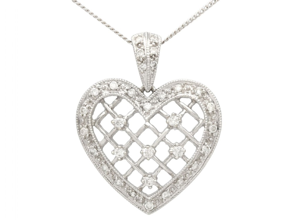 028 ct diamond and 18 ct white gold heart pendant vintage circa 1960
