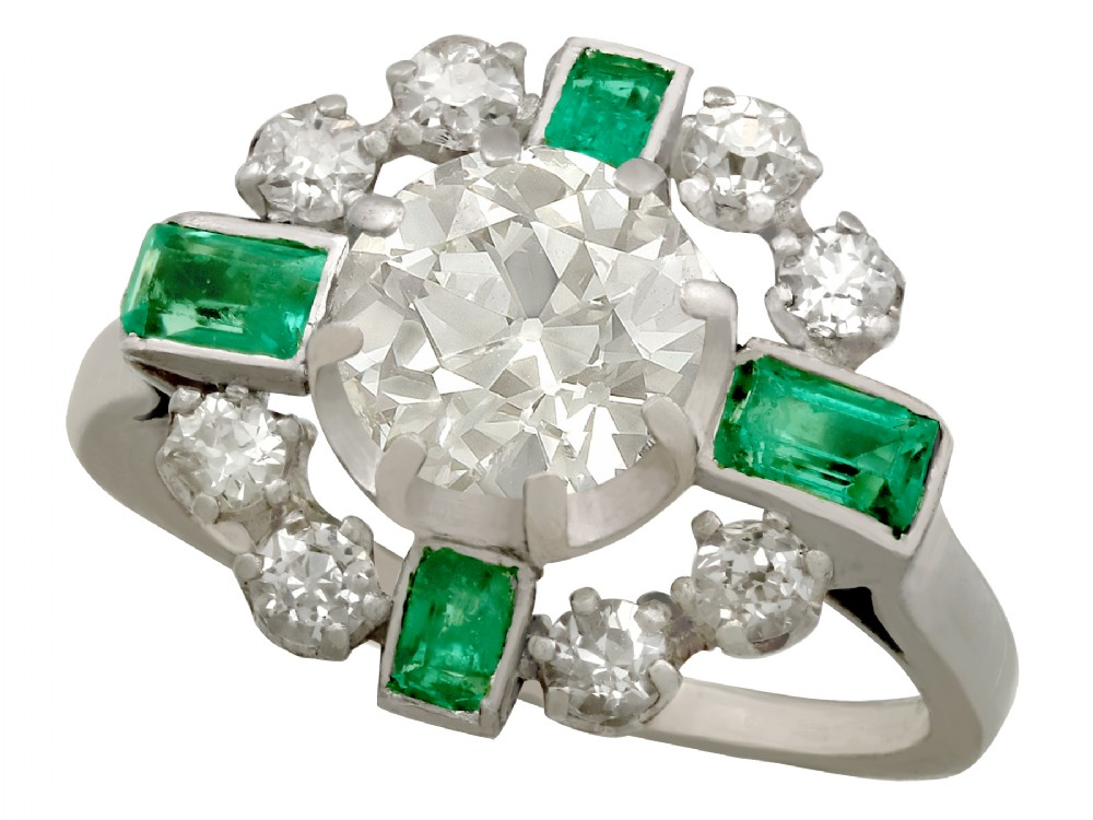 206ct diamond and 046ct emerald 18ct white gold dress ring vintage french circa 1950