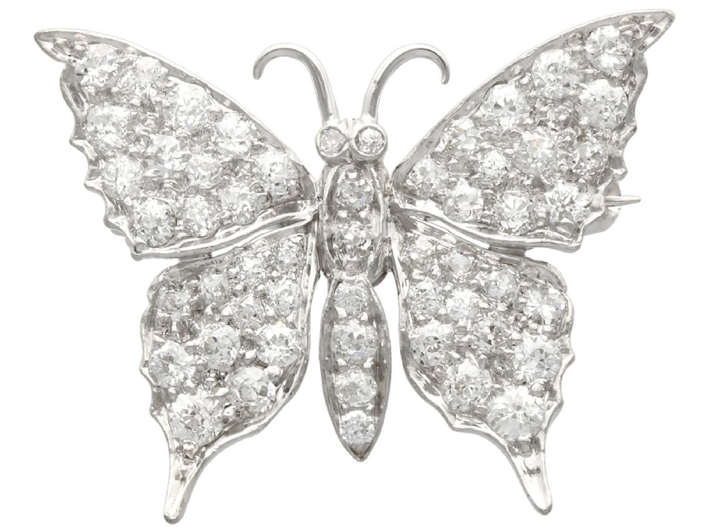 155 ct diamond and 15 ct white gold butterfly brooch antique circa 1920