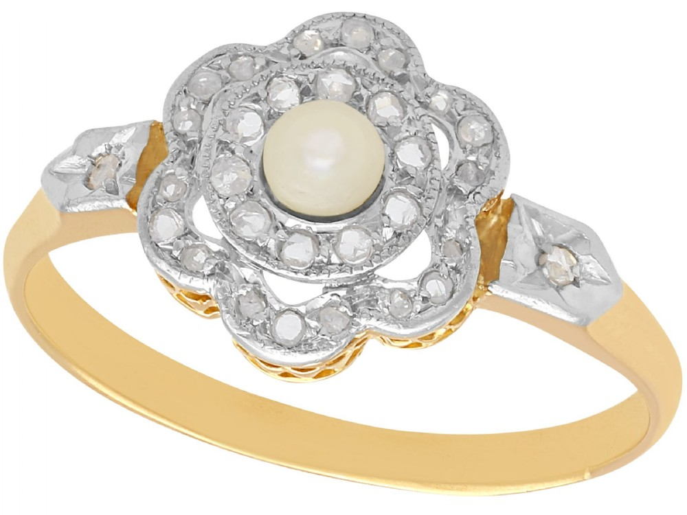 seed pearl and 018 ct diamond 18 ct yellow gold cluster ring antique french circa 1910