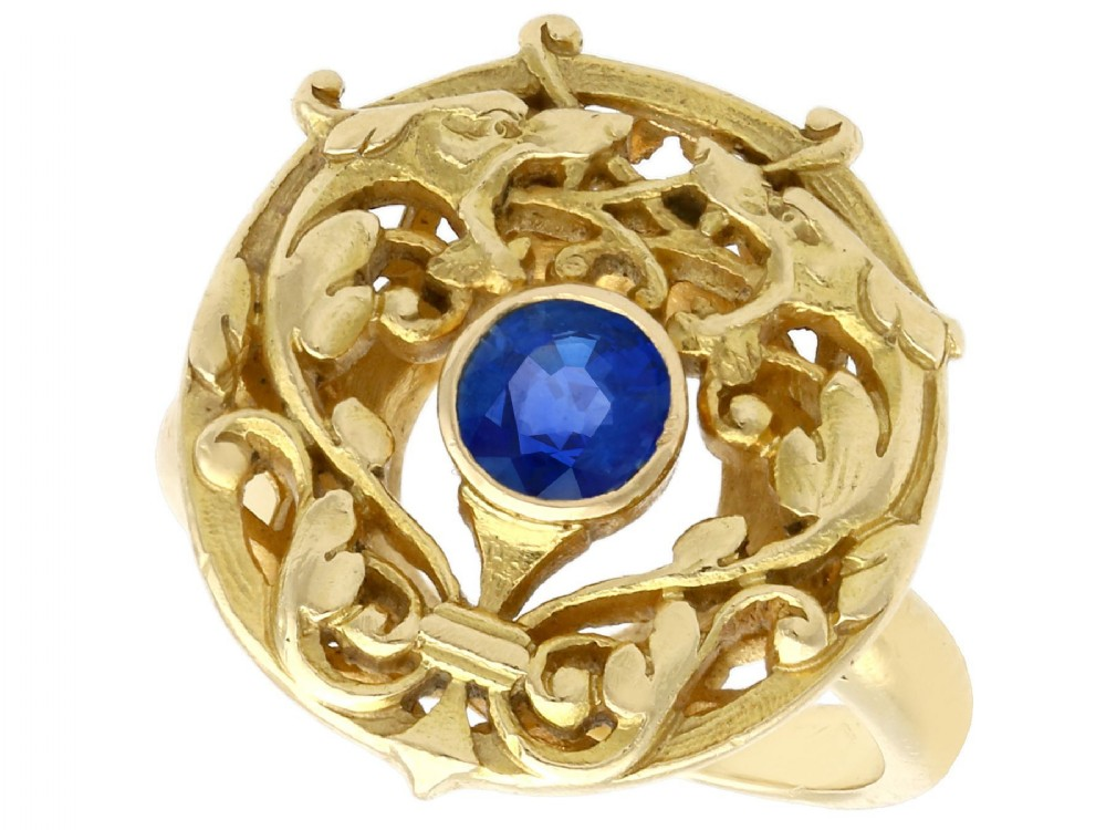 048ct sapphire and 18ct yellow gold dress ring antique french circa 1930
