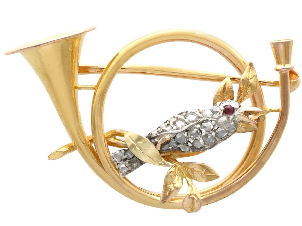 022ct diamond and ruby 21ct yellow gold and silver brooch antique circa 1900