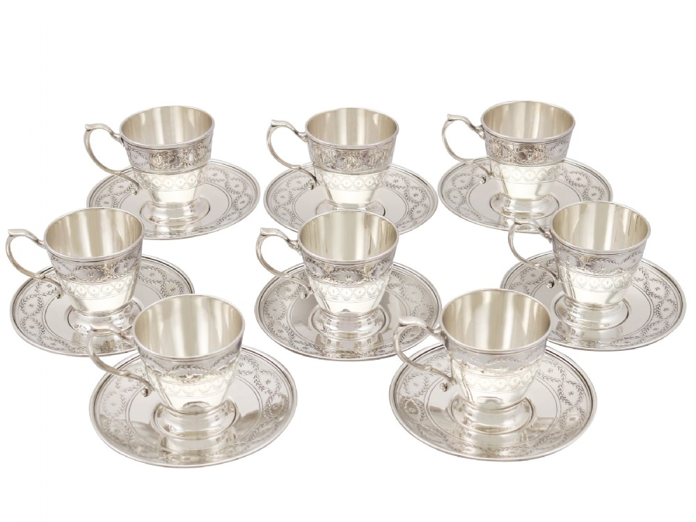 american sterling silver cups and saucers set by tiffany co antique 1914