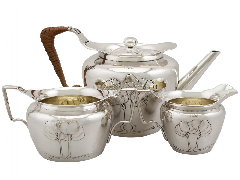 sterling silver three piece tea service by hukin heath ltd art nouveau antique edwardian 1903