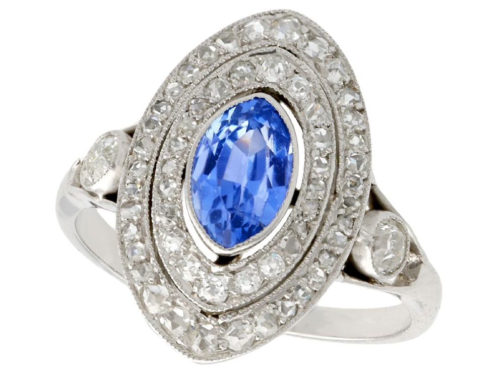 059 ct sapphire and 065 ct diamond 18 ct white gold marquise ring antique french circa 1910