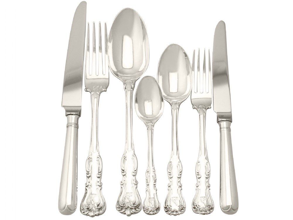 sterling silver canteen of cutlery for twelve persons by george adams antique victorian 1850