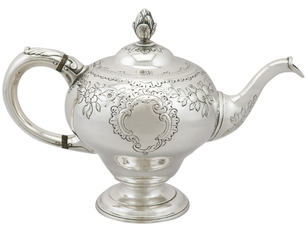 scottish sterling silver teapot antique george iii 1771