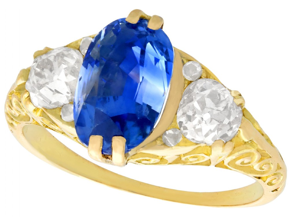 311 ct sapphire and 090 ct diamond 18 ct yellow gold trilogy ring antique victorian