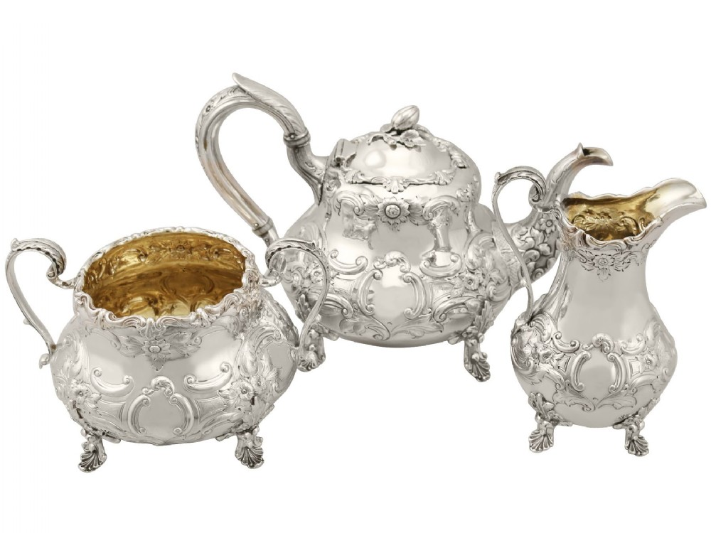 sterling silver three piece tea service antique victorian 1847