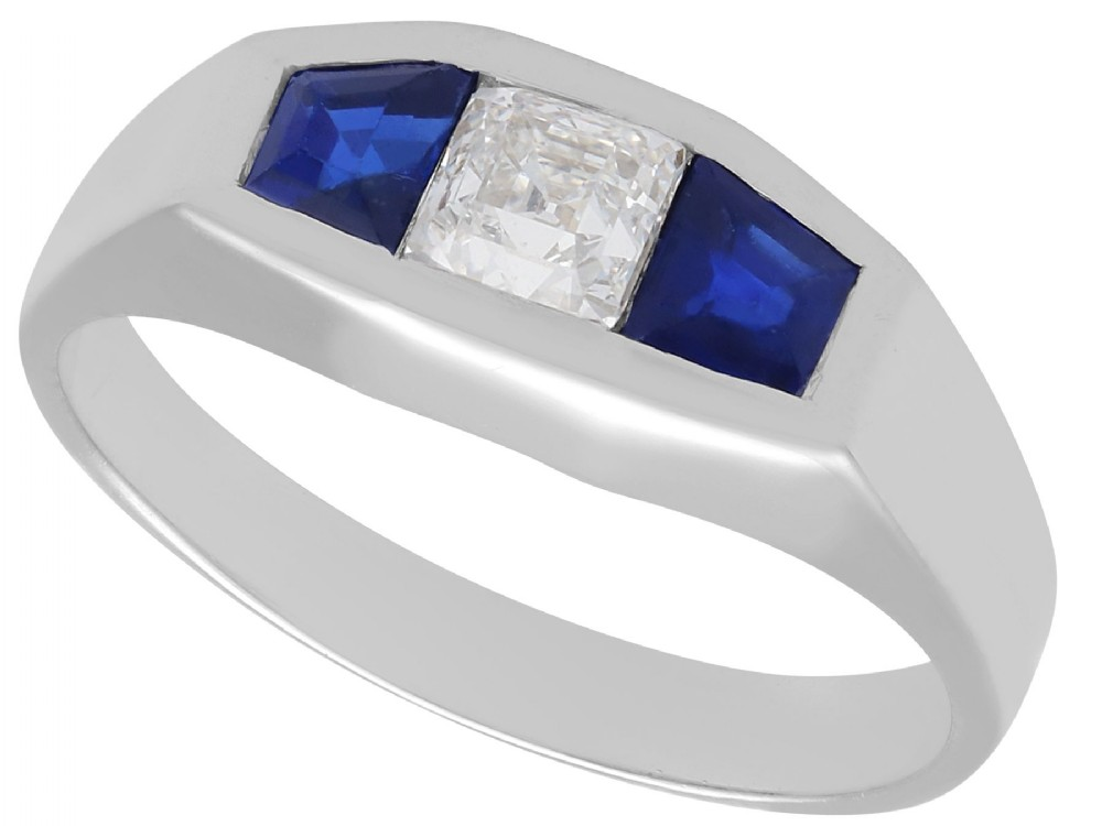 030ct diamond 062ct sapphire 18ct white gold ring art deco antique french