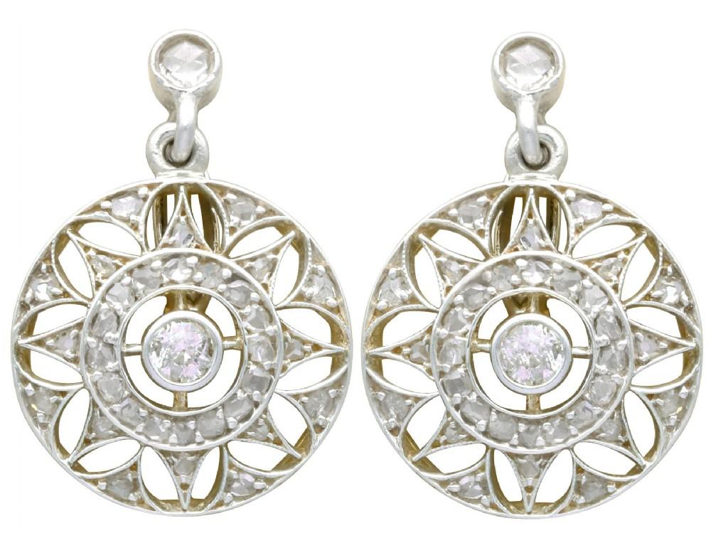 059ct diamond 14ct yellow gold drop earrings antique circa 1905