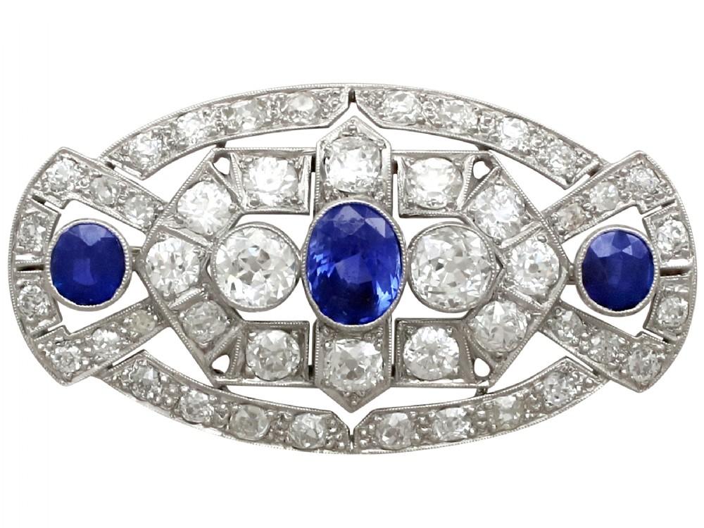 568ct diamond and 235ct sapphire platinum brooch art deco antique circa 1930