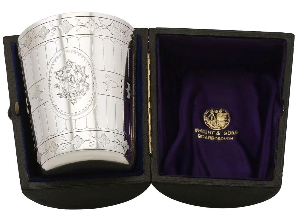 sterling silver beaker antique victorian