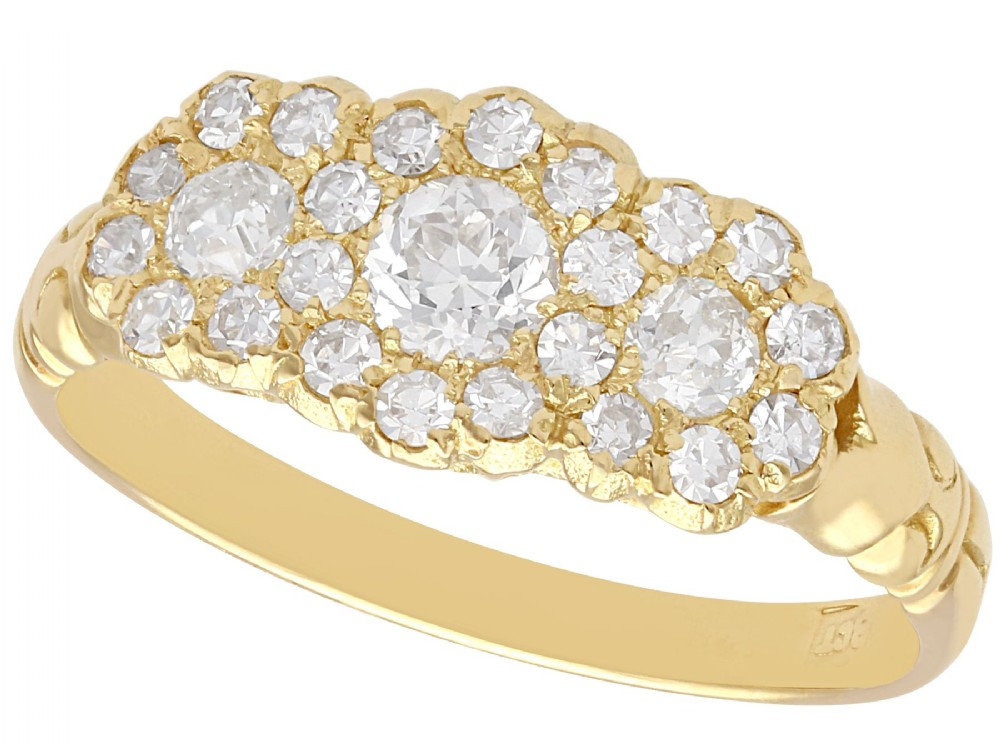101 ct diamond and 18 ct yellow gold trilogy cluster ring antique circa 1910