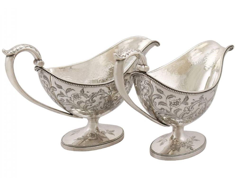 scottish sterling silver sauceboats antique george iii 1784