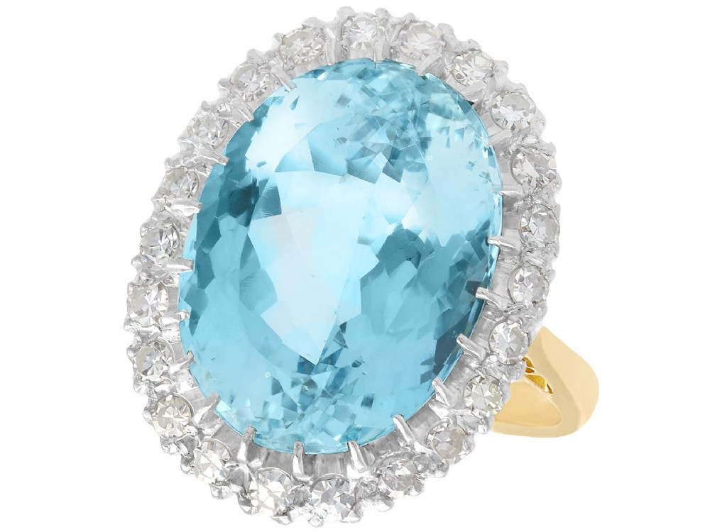 1079ct aquamarine and 066ct diamond 18ct yellow gold dress ring antique circa 1930