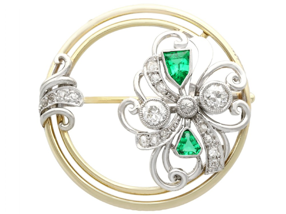 066 ct diamond and 059 ct emerald 14 ct yellow gold brooch art deco antique circa 1930