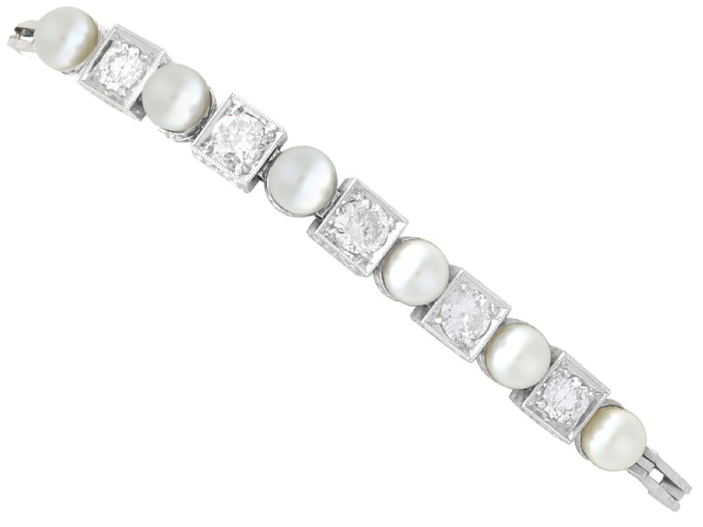 138ct diamond and cultured pearl 15ct white gold bracelet antique circa 1930