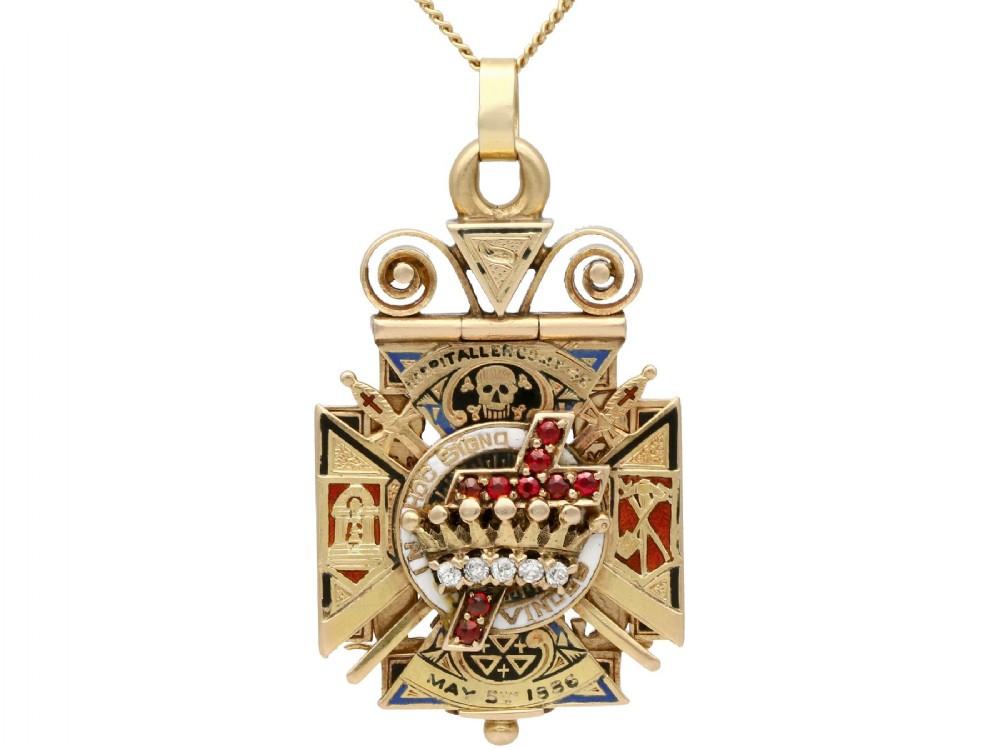 029ct diamond 020ct ruby and enamel 12ct yellow gold masonic pendant watch fob antique circa 1900