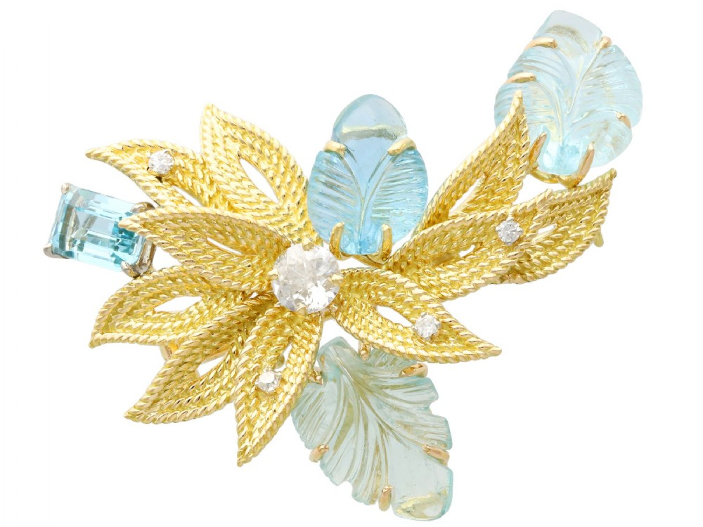 125ct aquamarine and 062 ct diamond 18 ct yellow gold brooch vintage circa 1960