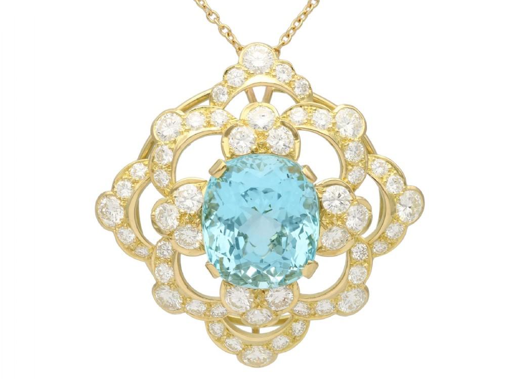 2232ct aquamarine 762ct diamond and 18ct yellow gold pendant vintage circa 1950
