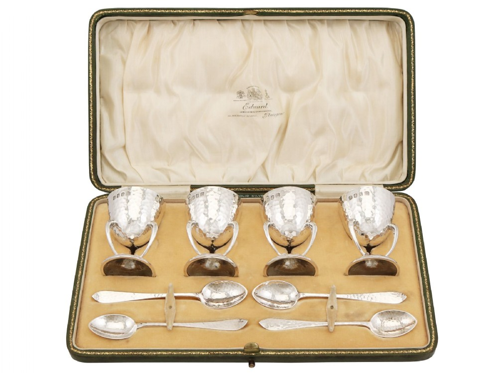 scottish sterling silver egg cups and spoons art nouveau antique edwardian 1909