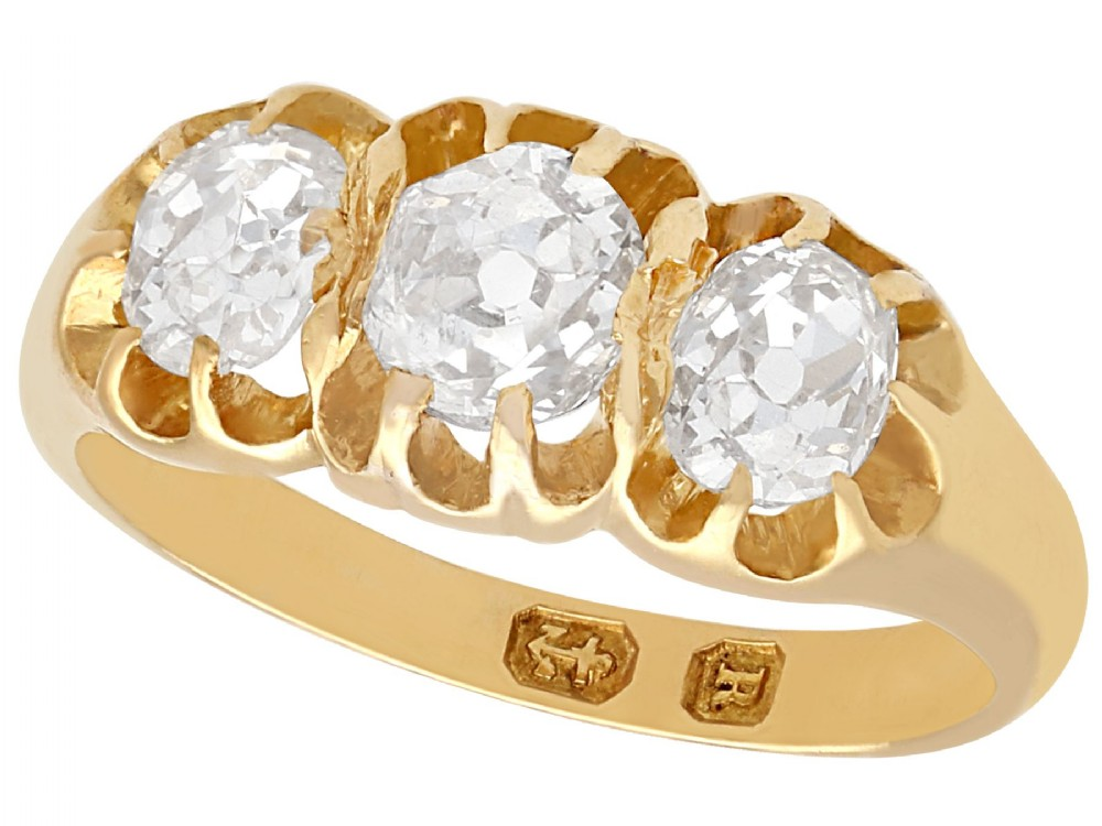 105 ct diamond and 18 ct yellow gold trilogy ring antique 1866